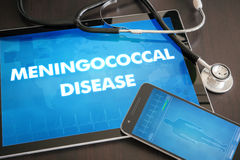 Meningococcal disease (infectious disease) diagnosis medical. Concept on tablet screen with stethoscope Royalty Free Stock Photo