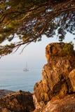 Meningscatamaran die op het overzees door de rotsen varen Stock Afbeeldingen