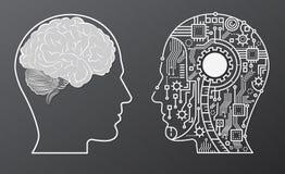 Meningshuvud för mänsklig hjärna med för robothuvud för konstgjord intelligens illustrationen för begrepp stock illustrationer