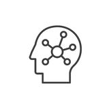 Meningskaart in een hoofdlijnpictogram, overzichts vectorteken, lineair die stijlpictogram op wit wordt geïsoleerd Symbool, emble Royalty-vrije Stock Afbeeldingen