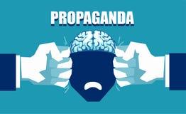 Meningskontroll och propagandabegrepp stock illustrationer