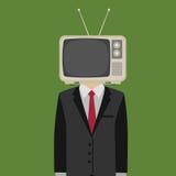 Meningskontrollen min massmediaillustration, folk med television i hans huvud, tvhuvud Royaltyfri Fotografi
