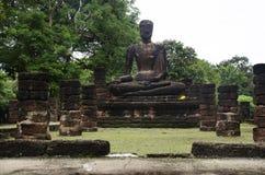 Meningslandschap van het standbeeld van Boedha in Wat Phra Sing van het Historische Park van Kamphaeng Phet in Kamphaeng Phet, Th Royalty-vrije Stock Afbeeldingen