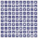100 meningspictogrammen geplaatst grunge saffier Stock Afbeelding