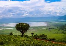 Meningspunt die meer in Ngorongoro-Krater overzien Royalty-vrije Stock Foto