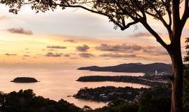 Meningspunt met kleur van de zonsondergang, Thailand Stock Foto's