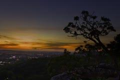 Meningspunt vanaf bovenkant van berg Stock Foto