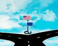 Meningsverschillen tussen de V.S. en de EU Stock Foto's