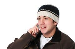 Menino adolescente no telefone de pilha Imagem de Stock Royalty Free