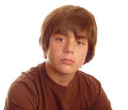 Menino adolescente novo sério Fotografia de Stock