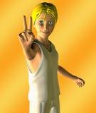 Menino adolescente que dá A V para o sinal da vitória Foto de Stock Royalty Free