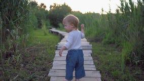 Menino alegre da criança que anda na ponte de madeira com os pés descalços na natureza entre a grama verde vídeos de arquivo