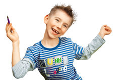 Menino alegre de sorriso foto de stock