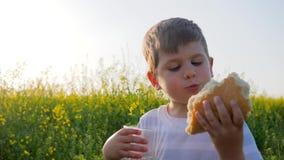 Menino alegre que come o alimento no parque fora no dia ensolarado, no jovem com pão do naco e no vidro à disposição no campo do  filme