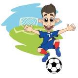 Menino alegre que joga o futebol ilustração do vetor