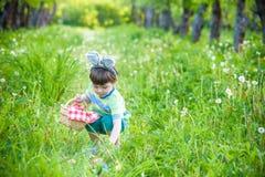 Menino alegre que mantém a cesta completa dos ovos da páscoa coloridos que estão na grama no parque após a caça do ovo imagens de stock royalty free
