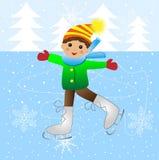 Menino alegre que patina no gelo ilustração do vetor