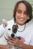 Menino & seu cão Fotografia de Stock Royalty Free