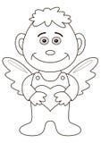 Menino-anjo com coração, contornos Imagem de Stock