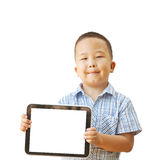 Menino asiático 6 anos com tabuleta Imagens de Stock Royalty Free