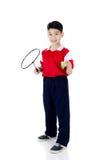Menino asiático na ação do badminton Foto de Stock Royalty Free