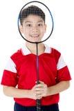 Menino asiático na ação do badminton Imagem de Stock