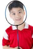 Menino asiático na ação do badminton Imagem de Stock Royalty Free