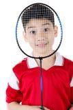 Menino asiático na ação do badminton Fotografia de Stock Royalty Free