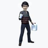 Menino asiático pequeno que guarda o copo e o contatiner 1 Fotografia de Stock