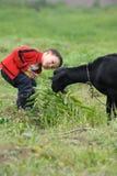 Menino asiático que olha a cabra preta Fotografia de Stock