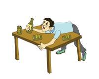 Menino bêbedo no sofrimento Imagens de Stock