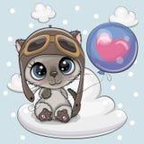 Menino bonito do gatinho dos desenhos animados com balão ilustração royalty free