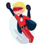Menino bonito do super-herói do vôo com cidade ilustração royalty free