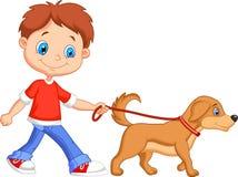 Menino bonito dos desenhos animados que anda com cão ilustração do vetor