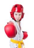 Menino bonito novo que exercita taekwondo Fotos de Stock Royalty Free