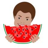 Menino bonito que come a melancia Fotografia de Stock Royalty Free