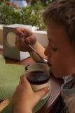 Menino bonito que come a sobremesa Fotografia de Stock Royalty Free