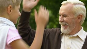 Menino bonito que dá altamente cinco a seu avô idoso quando eles que têm o resto no parque video estoque
