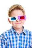 Menino bonito que desgasta os vidros 3D Imagem de Stock Royalty Free