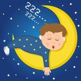 Menino bonito que dorme na lua Imagens de Stock Royalty Free