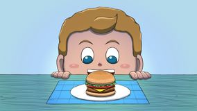 Menino branco que olha o Hamburger ilustração stock