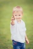 Menino caucasiano com cones do pinho Foto de Stock