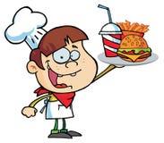 Menino caucasiano do hamburguer que sustenta um cheeseburger ilustração royalty free