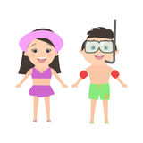 Menino caucasiano que veste uma máscara para mergulhar e uma menina cartoon Fotos de Stock