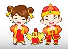 Menino chinês do vetor, menina, ilustração do galo Imagem de Stock Royalty Free