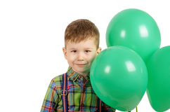 Menino com balões verdes Imagens de Stock Royalty Free