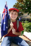 Menino com bandeira australiana Foto de Stock Royalty Free