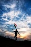 Menino com a bandeira nacional indiana Foto de Stock