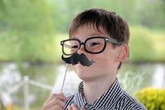 Menino com bigode Imagens de Stock Royalty Free