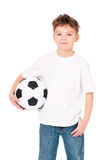 Menino com bola de futebol Fotografia de Stock Royalty Free